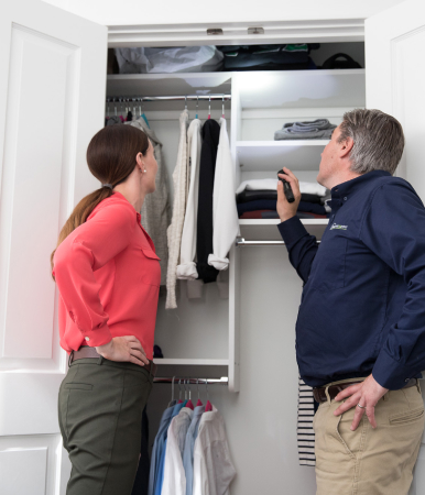 Home Inspector showing something to homeowner